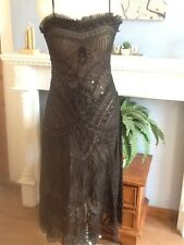 HUNZA DRESS  BLACK TAPEWORK AR DECO DESIGN MOTHER OF THE BRIDE CRUISE RACES 10
