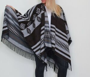 Easy Care Soft LADIES throw/poncho/blanket  - Brown & Beige