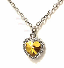 "Heart of the Ocean Silver Plated Yellow Citrine color Cristal 20"" Necklace w/bag"