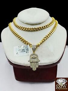 "Solid 10k Yellow Gold Diamond Hamsa Hand Charm with 26"" Miami Cuban Chain"