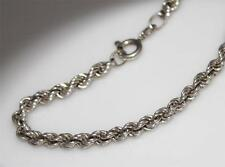 STERLING SILVER 4mm Thick TWISTED ROPE CHAIN BRACELET/ W198