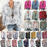 Womens Long Sleeve Casual V Neck Tops Loose Floral Spotted Blouse Summer T Shirt