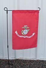 """12x18 12""""x18"""" USMC Marines Marine House Banner Sleeved Garden Flag w/ Pole"""