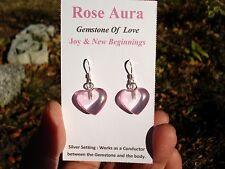 ROSE AURA QUARTZ Heart Earrings-Gemstone of Love & Joy! 24K GOLD+Quartz Crystal!