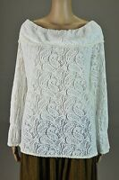 VTG Ivory paisley Crochet long sleeve Cocktail Evening Blouse top shirt Sz S