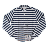 Men's Prison Stand-up Collar Striped Long Sleeve Shirt Motorcycle Vintage Jacket
