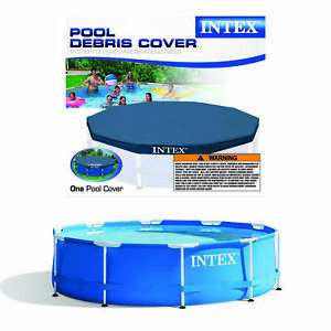 Metal Frame Above Ground Swimming Pool w/ 10 Foot Round Swimming Pool Cover