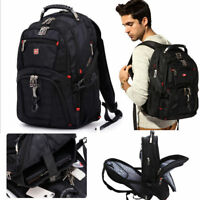 "Travel Gear Men 15"" Laptop Backpack Swiss Waterproof Rucksack School Bag"