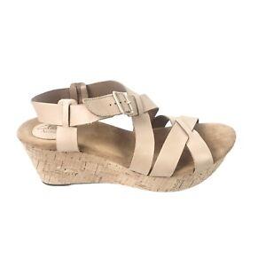 Clarks Artisian Women's Size 12M NEW Nubuck Leather Sand Tan Cork Wedge Sandals