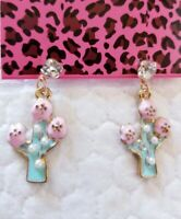 Betsey Johnson Lovely Pink & Green Enamel Cactus Pearl Crystal Stand Earrings