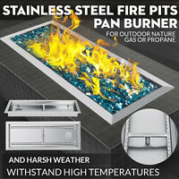 Fire Pit Pan w/H-Burner 24 x 8 Stainless Steel Low-Rise Fireplace Parts