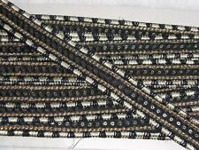 Braid with sequins metallic stitching Black and gold 1 inch wide Per metre