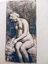 Woman Bathing Her Feet at a Brook, by Rembrandt (1658) RARE 19th C Print