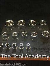 FRANKLIN TOOLS  STAR TORX SOCKET SET E4 - E24 IN STORAGE FOAM - 1/4 3/8 1/2 Dr