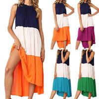 Women's Casual Sleeveless Patchwork Dress Beach Loose Low High Pleated Sundress