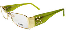 NEWT W AUTH CARD FENDI F923R 50/16/135 GREEN GOLD LOGO EYEGLASSES W HARD CASE