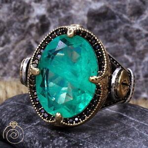 Men Natural Paraiba Tourmaline Silver Ring Green Stone Anniversary Fiance Gift