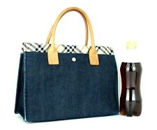 Auth Burberry London Blue Label Tote Small Hand Bag Nova Check Blue Denim Unisex