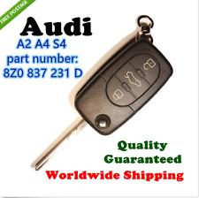 AUDI A2 A4 S4 3 BUTTON FLIP REMOTE COMPLETE KEY  8Z0 837 231 D