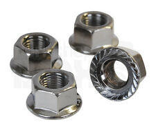 """BMX bicycle flanged axle nuts - SET OF 4 - 3/8"""" X 24T - SILVER"""