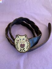 """LUCKY BRAND VINTAGE BRAIDED LEATHER BELT W/ ENAMEL CAT BUCKLE*RARE FIND 50"""" LONG"""