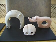 Two Abstract Soapstone Elephants And A Rhino