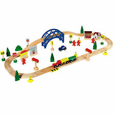 Chad Valley 60 Piece Wooden Toy Train Set Birthday Christmas 3+ Years