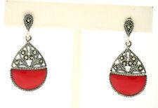 NEW .925 Sterling Silver Carnelian Half Circle Marcasite Open Dangle Earrings