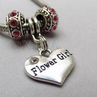 Flower Girl Heart Charm And Birthstone European Beads For Charm Bracelets