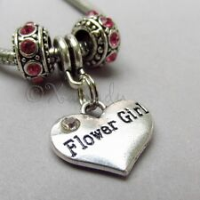 Flower Girl Heart Charm And Birthstone European Beads For Charm Bracelets