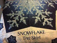 Snowflake Christmas Tree Skirt Fabric Panel - 1/2 of Skirt - Bonus Snowflakes
