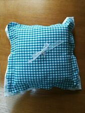 Handmade Scalloped Ring Pillow Country Rustic Gingham Linen Green Blue Teal