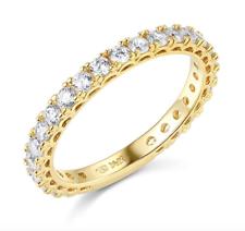 1.75 Ct Round Corte Real 14k Amarelo Ouro Pavé Aniversário Casamento Banda Anel