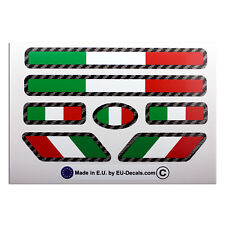 7X Italian flags Carbon fiber outline Laminated Decals Stickers for moto guzzi