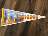 Vintage Chicago The Windy City Graphic Skyline Pennant Sears Tower John Hancock
