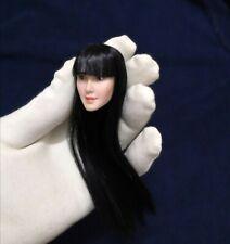 """12"""" pálida Cuerpo Escuela figura 1/6 Hembra chica asiática de cabello negro cabeza tallada esculpir"""