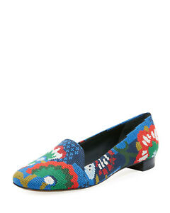 Tory Burch Sadie Needlepoint Flat Loafer Shoes 7.5 MSRP: $348.00