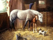 SunsOut We Have Company 1000 pc Jigsaw Puzzle New Horse Pony Barn Stable Dog