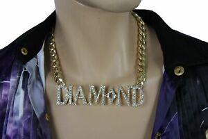 Women Gold Metal Chain Necklace DIAMOND Pendant Gangster Hip Hop Fashion Jewelry