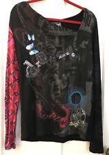 DESIGUAL Multicolor Multi Pattern Black Blouse Top Sequins Embroidery Women's L