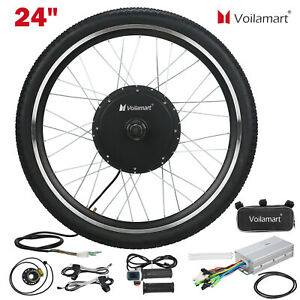 """24"""" Electric Bicycle Motor Conversion Kit Front Wheel EBike Cycling Hub 48V1000W"""