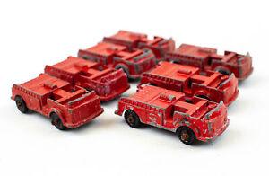 Vintage Midgetoy Red Fire Trucks - Lot of 7 | Unrestored
