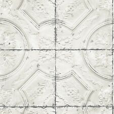 Off White Faux Tin Embossed Ceiling Tile on Easy Walls Wallpaper 3115-12431
