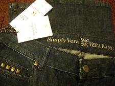 Women's Simply Vera Vera Wang Straight Leg 5 Pocket Studded Stretch Jeans 8