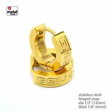 Gold Plated Stainless Steel Huggie Hoop Hinged Snap Rapper Earrings SSHE 020 G