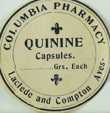 1890's Quinine Bottle Label, Columbia Pharmacy, St. Louis Vintage Original F90