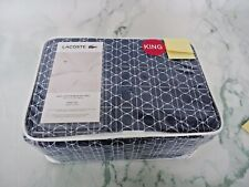 Lacoste Tennis GEO King Sheet Set of 4 in Blue 100% Cotton Brushed Twill New Pac
