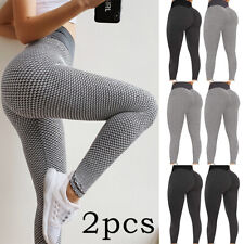 2 un. Tik Tok Leggings Alta Cintura Cadera Trasero Elevador Burbuja Leggings Pantalones de Yoga apretado