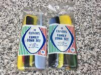 (2) Unopened Packs 1950s Unused Vintage Colorful Plastic Hair Styling Combs NIP