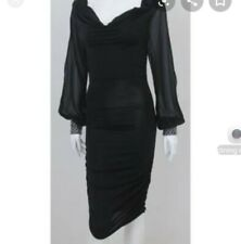 Lipsy Ruched Dress With Sparkly Detail And Sheer Sleeves Size 10